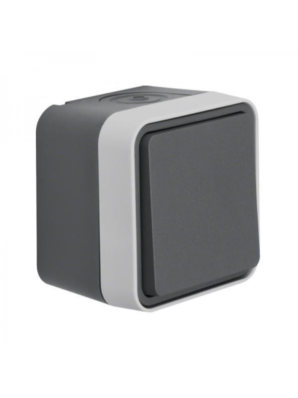 Intrerupator simplu/cap scara IP55 gri mat W.1 Berker