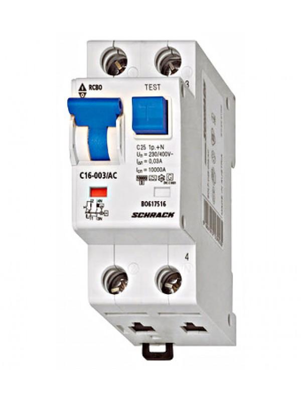 Întreruptor automat+diferenţial, C32/30mA, 10kA, tip AC,1P+N Schrack